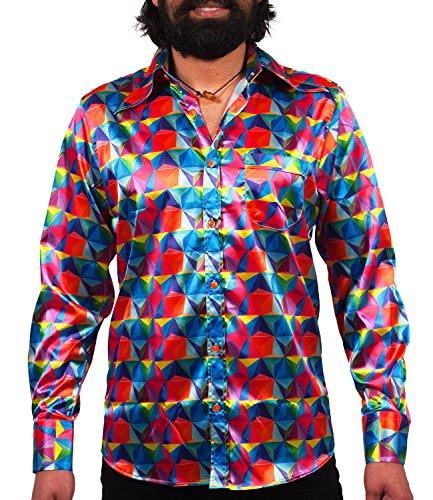 Comycom Knallbuntes 70er Jahre Grafik Hemd Glänzend,