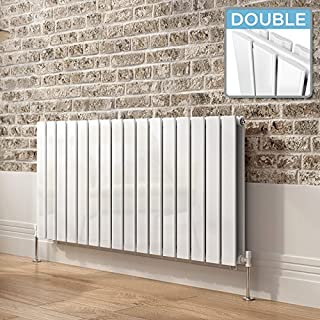 iBathUK | 600 x 1200 mm White Column Designer Radiator Horizontal Double Flat Panel