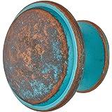 Gedotec Messing ladenknop antieke kastknop vintage meubelknop koper rustiek - NELLES   Keukenknop groot Ø 36 mm   Commodeknop