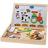Magnetic Shapes Box with Whiteboard & Blackboard Chalkboard skills Development, intelligence, educational, IQ, STEM & Montess