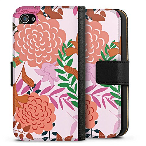 Apple iPhone X Silikon Hülle Case Schutzhülle Blumen Muster bunt Sideflip Tasche schwarz