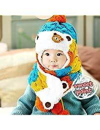 HuntGold ours mignon bébé hiver rayé laine chapeaux chaud oreillette avec écharpe bleu