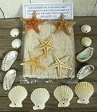 Deko Fischernetz 1 x 2m beige mit 3 Seesternen, 2 Noppenseesterne u. 12 Muscheln