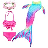 Swimsuit Mermaid Tail Swimmable Bikini Swimming Costumes with Colorful fin 3pcs Sets for Little Girls Kids Child and Women an