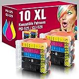 ms-point® 10 kompatible Druckerpatronen mit CHIP und Füllstandsanzeige für Canon Pixma IP4850 IP4950 IX6550 MG5150 MG5250 MG5350 MG6150 MG6250 MG8150 MG8240 MX715 MX884 MX885 MX895 Patronen kompatibel zu PGI-525, CLI-526BK, CLI-526C, CLI-526M, CLI-526Y