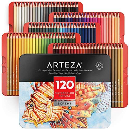 Arteza professionelle Aquarellstifte, 120 Aquarell-Bleistifte-Set für Aquarellmalerei, 120 Stifte in Aufbewahrungsbox, wasserlösliche Farbstifte zum Mischen, Schichten & Aquarellieren