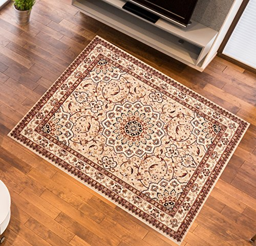 Tapiso Atlas Area Rug Traditional Pattern Cream Light Beige MOSAIC Floral Durable Carpet For Living Room & Bedroom Classic Stylish Interior | Size - 120 x 170 cm (3ft11 x 5ft7)