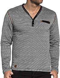 BLZ jeans - Sweat gris molettoné homme à rayures
