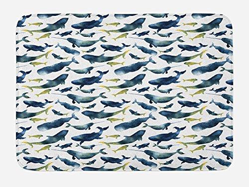 pich Ocean, Aquarell, Wal-Design, Cachalot Orca Wal-Motiv, Badezimmer, mit Rutschfester Unterseite, Blau, Gelb, 59,9x 39,9cm ()