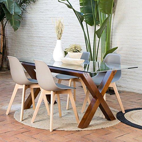 Gauss Base Table À Manger Teck - Bois - 130x67x73 cm - Couleur Teck