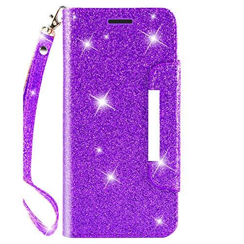 iPod Touch 6 Hülle, mit Displayschutzfolie, TPU + Leder Bling Glitzer Flip Wallet Case mit Ständer Kreditkarte Slot für Mädchen/Frauen für Apple iPod Touch 6, violett - Apple Ipod Leder
