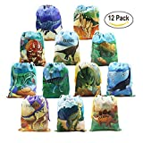 Dinosaur Party Supplies Favours Bags for Kids Boys and Girls Birthday 12 Pack Dino Drawstring Goodie Gift Pouch