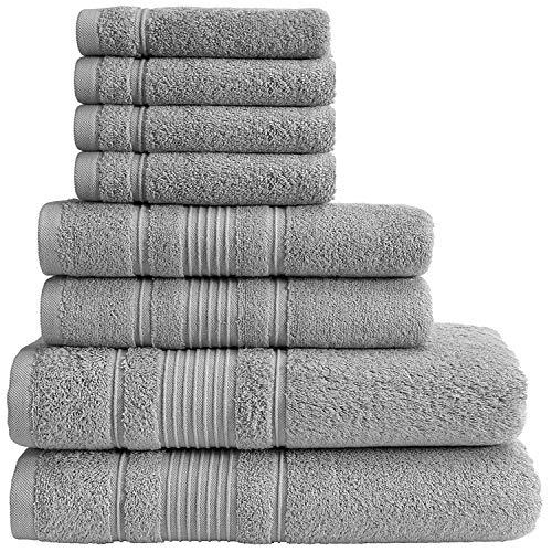Qute Home Spa & Hotel Handtücher 8-teiliges Handtuch-Set, 2 Badetücher, 2 Handtücher und 4 Waschlappen grau