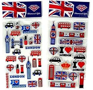 Sticker Londres Icônes de Royaume-Uni Souvenir Souvenir./Speicher/Memoria. Très Stickers miniature de collection, chaque Londres Icône représentée. Fun, insolite Britannique miniature de collection Souvenir. Un souvenir unique et éducatives. Autocollants/Stickers/Adesivi/PEGATINAS.