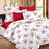Ahmedabad Cotton Comfort 160 TC Cotton Double Bedsheet with 2 Pillow Covers - White and Pink
