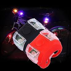 Wasserdicht LED Fahrradbeleuchtung ,OHQ Fahrrad Licht Scheinwerfer Rücklicht Silikon LED Warnlicht Taschenlampe
