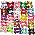 Chenkou Craft 50pcs/25pairs New Dog Hair Bows With Rubber Band Bow Pet Grooming Products Mix Colors Varies Patterns Pet Hair Bows Dog Accessories from Chenkou Trade