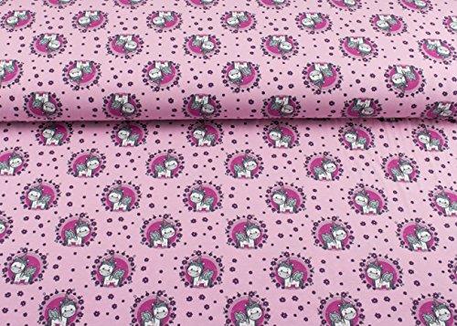 Nähen Muster Leggings (Super schöner Jersey Stoff mit dem Muster Einhorn | Unicorn im Blumenmeer auf Rosa | Maße: 25 cm x ca. 145 cm | 1A ÖKO-TEX Qualität Standard |)