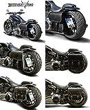 Seitlicher Kennzeichenhalter 180x200 mm für Harley Davidson Softail (-2017) Cross Bones FLSTSB, Blackline FXS inkl. TÜV-Teilegutachten, LED-Kennzeichenbeleuchtung und Montagematerial.