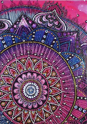 Diamant-Gemälde DIY 5D Special Shape Strass ABEUTY Red Mandala Floral Blumen Teil-Bohrer Kristall Diamant Dotz Kits Persian (Kein Halloween-handwerk Kleber Einfach)