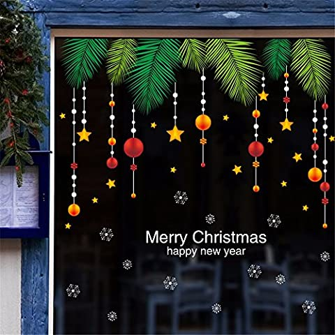 Christmas wall stickers shopping malls shop glass window display window stars hanging ball ornaments festive atmosphere layout