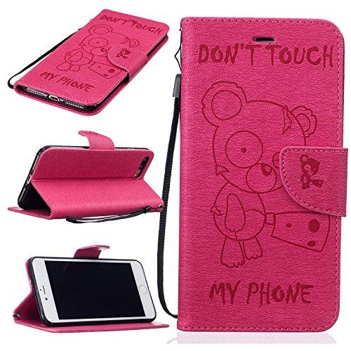 Funda iPhone 7 Plus (5,5 zoll) Case , Ecoway Winnie el patrón de gofrado PU Leather Cuero Suave Cover Con Flip Case TPU Gel Silicona,Cierre Magnético,Función de Soporte,Billetera con Tapa para Tarjetas ,Carcasa Para iPhone 7 Plus (5,5 zoll) - Rose Red