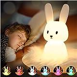 SOLIDEE Lapin Veilleuse Bebe Tactile 7 Couleurs |USB Rechargeable Peut être Chronométré Veilleuse Enfant Deco Lampe Pour Déco