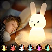 SOLIDEE Lapin Veilleuse Bebe Tactile 7 Couleurs  USB Rechargeable Peut être Chronométré Veilleuse Enfant Deco Lampe Pour…
