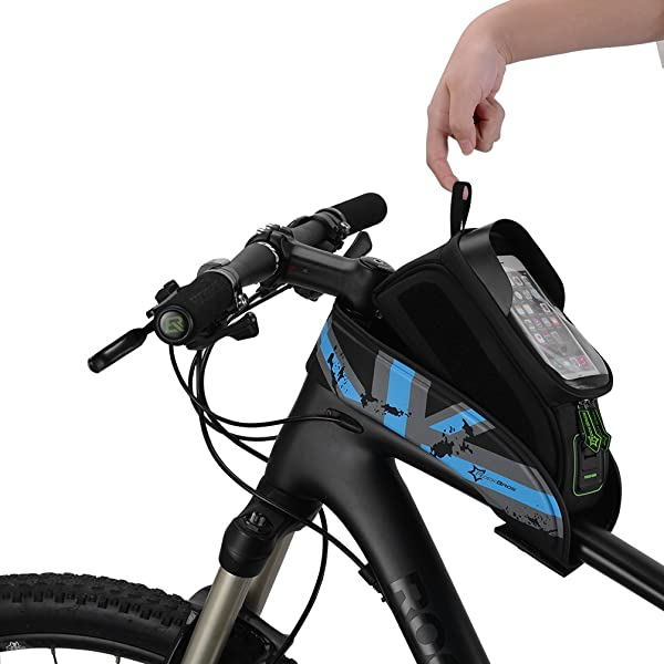 "RockBros Bike Frame Bag 5.8/"" Touch Screen Waterproof Front Tube Bag Green"