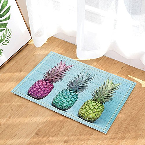 cdhbh Tropical Fruit Decor Ananas Pastell Holz Bad Teppiche für Badezimmer Rutschfeste Boden Eingänge Outdoor Innen vorne Fußmatte Kinder Badteppich 39,9 x 59,9 cm blau - Coral Tropical Teppich