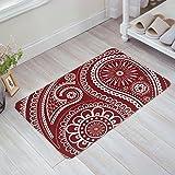 Wein Rot und Weiß Geometrische und Floral Paisley Design Fußmatte Welcome Matte Fußmatten-Entrance Mat