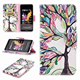 COWX Honor 7x Book Style PU Leather Case Flip Cover Case Wallet Case Cover With PU Leather Case with Soft Silicone Mobile Phone Holder for Huawei Honor/7x Colorful Tree Bag Pink with White