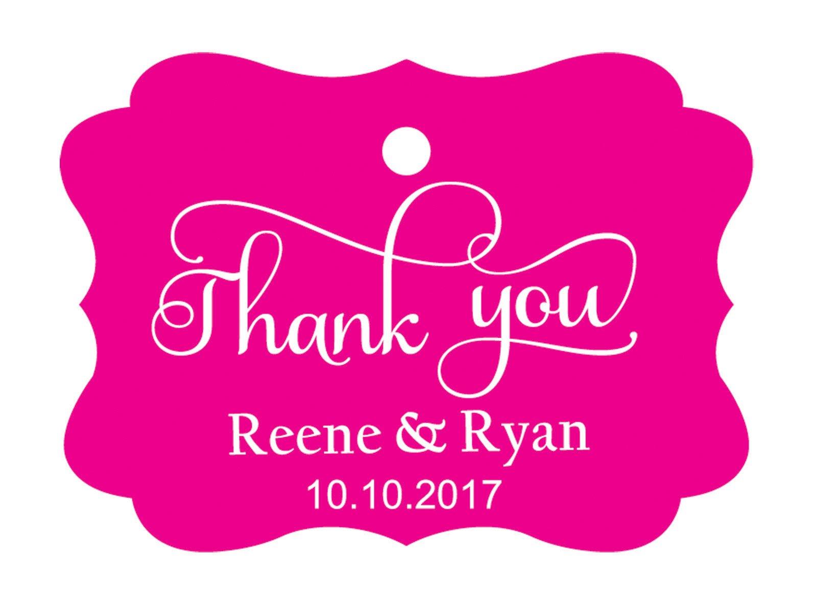 100pcs Thank You custom made cartellini personalizzato matrimonio carta regalo Tag Magenta