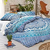 """Exclusive Queen Size Ombre Mandala DUVET COVER WITH PILLOWCASES By """"Sophia Art, Indian Duvet Doona Cover Queen Size Cover Boho Bedding Set Blanket (Queen, Blue)"""