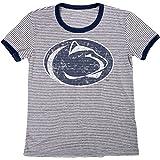 Blue 84 NCAA Penn State Nittany Lions Women's Tri-Blend Retro Stripe Ringer Shirt, X-Large, Navy