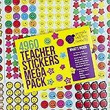 Pegatinas de Recompensa para Niños y Profesores de Purple Ladybug Novelty | Lote de 180 Hojas y 4960 Stickers Smiley, Emoji Estrellas y Manzanas | Calcomanías Infantiles para la Escuela, la Casa y Más