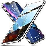ESR Funda para iPhone XR Cristal Templado [Imita la Parte Posterior del Vidrio del iPhone XR] [Resistente a los Arañazos] + B