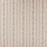 Baumwollstoff Streifen Blumen Girlande beige grau 1,35m