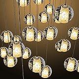 Kronleuchter LED modernen Kronleuchter höhenverstellbar Kronleuchter Glas Kronleuchter sphärische Kronleuchter für Wohnzimmer Esstisch Treppe Schlafzimmer (36 Lichter)