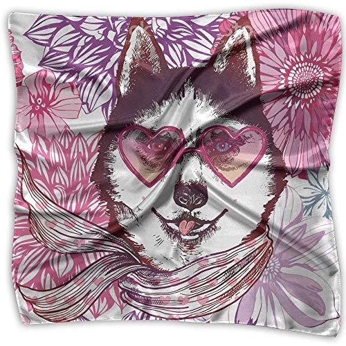 Husky In Sunglasses Fashion Animal Dog Square Scarfs For Women Scarve Head Wrap Shawl