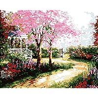 DAMANGXIANG Números Pintura Al Óleo DIY Kits Pintados A Mano Patio Camino Árbol Paisaje Arte Abstracto