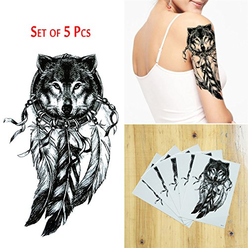 COKOHAPPY 5 Sheet Temporäre Tattoo Groß Tattoo Wolf Dream Catcher Flash Tattoo (Dream Catcher Kostüme)