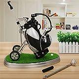 World 9.99 Mall Weihnachten Golf Geschenk, Mini Office Golf Pen Halter mit 3 Sets Aluminium Alloy Golf Stifte (schwarz + siliver mit Halter)