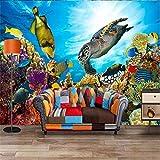 Malerei-Marine Life Turtle-Foto-Tapete-Wandgemälde 3d geprägte nichtgewebte Fernsehhintergrund-Restaurant-Küchen-Schlafzimmer-400X280CM
