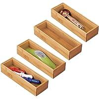 mDesign rangement à tiroir en bambou pour la cuisine (lot de 4) – séparateur de couverts modulable pour l'argenterie, la…