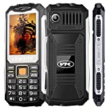VKworld Stone V3S Daily Shcokproof Waterproof Dustproof Outdoor GSM Mobile Phone 2.4 Inch Dual SIM Slot Keyboard Bluetooth Big Button Dual LED Flashlight,Black