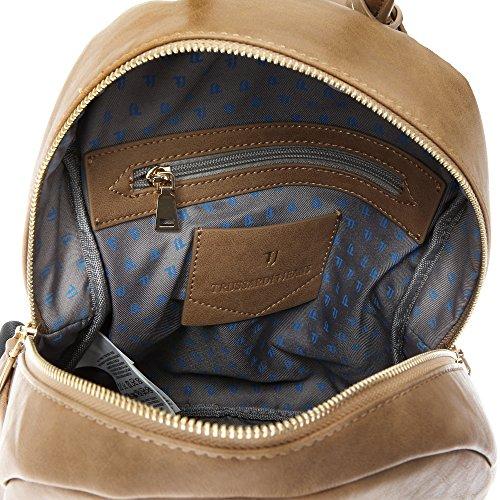 Trussardi Jeans Femme sac à dos Sac à bandoulière en cuir PU-27x28x13 Cm - Mod. 75B711SM Boue