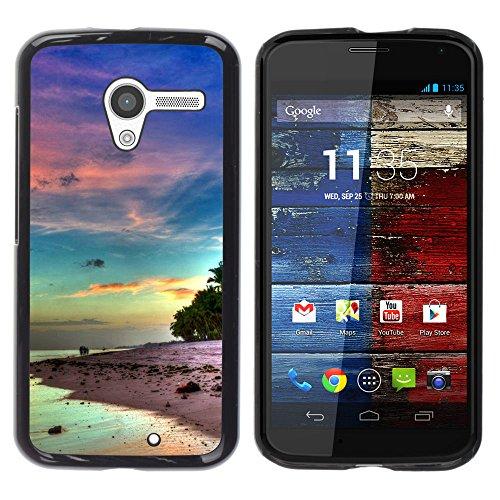 SuperStar // Kühles Bild Hartschalenkoffer PC Schutzhülle Hard Case Protective Cover for Motorola Moto X 1 1st GEN I / Schöne Serenity Insel /