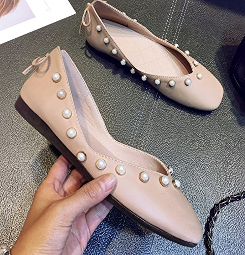 Aisun Femme Mode Rivets Talon Plat Enceintes Ballerines Rose