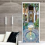 Fqz93in Aufkleber Der Tür 3D Edles Design Von Muslimen Architektur Ölgemälde Wandaufkleber Tapete Tür Aufkleber Wohnkultur